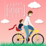 Vector of happy father`s day greeting card. father biking bicycle with his son ride on a pillion, riding in the grass field. With white cloud on pink background stock illustration