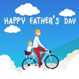Vector of happy father`s day greeting card. father biking bicycle with his son ride on a pillion, riding over the white cloud. On blue background royalty free illustration