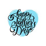 Vector Happy Fathers Day calligraphic inscription for greeting card, festive poster etc. Hand lettering on heart shape. Vector Happy Fathers Day calligraphic Stock Image