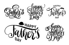 Vector Happy Fathers Day calligraphic inscriptions set for greeting card, festive poster etc. Hand lettering collection. Vector Happy Fathers Day calligraphic Stock Image