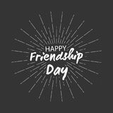 Vector Happy friendship day backgroung with lettering and starburst for greeting cards design. Happy friendship day backgroung with lettering and starburst for Royalty Free Stock Photography