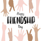 Vector happy friendship day lettering with children hands background. Vector happy friendship day lettering with children hands.Sign of friendship, hand Stock Photography