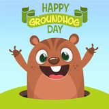 Vector Happy Groundhog day card with cute brown groundhog or marmot or woodchuck isolated on white background. Forecast spring animal in cartoon style for Stock Image