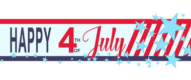 Vector Happy 4h of July banner with stars and stripes. USA Independence Day decoration. Royalty Free Stock Images