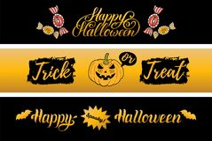 Vector Happy Halloween banners set. All Saints Eve background. Festive Treak Or Treat illustrations collection Stock Photo