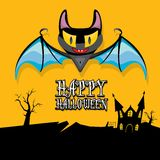 Vector happy halloween card with bat Royalty Free Stock Photo