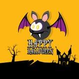 Vector happy halloween card with bat Stock Photo