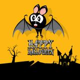 Vector happy halloween card with bat Royalty Free Stock Photos