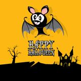 Vector happy halloween card with bat Stock Photography