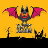 Vector happy halloween card with bat Stock Image