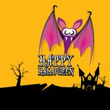 Vector happy halloween card with bat Stock Photo