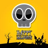 Vector happy halloween card with skull Royalty Free Stock Photo