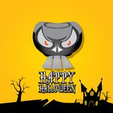 Vector happy halloween card with skull Royalty Free Stock Image