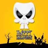 Vector happy halloween card with skull Royalty Free Stock Images