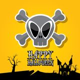Vector happy halloween card with skull Royalty Free Stock Photos