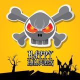 Vector happy halloween card with skull Stock Photo