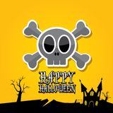 Vector happy halloween card with skull Stock Image