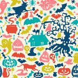 Vector Happy Halloween collection,classic bundle icons, doodles element for Halloween design. Set of Halloween silhouettes on tria Stock Images