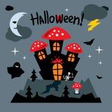 Vector Happy Halloween Concept Cartoon Illustration. Royalty Free Stock Photography