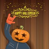 Vector Happy halloween creative hipster party background. man in halloween costume with carved pumpkin head Stock Photo