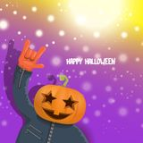 Vector Happy halloween hipster party background. man in halloween costume with carved pumpkin head on violet layout with vector illustration