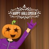 Vector Happy halloween creative hipster party background. man in halloween costume with carved pumpkin head Stock Photos