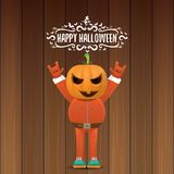 Vector Happy halloween creative hipster party background. man in halloween costume with carved pumpkin head Stock Images