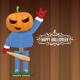 Vector Happy halloween creative hipster party background. man in halloween costume with carved pumpkin head Royalty Free Stock Images