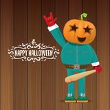 Vector Happy halloween creative hipster party background. man in halloween costume with carved pumpkin head Royalty Free Stock Photography