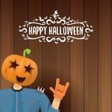 Vector Happy halloween creative hipster party background. man in halloween costume with carved pumpkin head Stock Photography