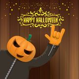 Vector Happy halloween creative hipster party background. man in halloween costume with carved pumpkin head Royalty Free Stock Image