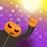 Vector Happy halloween hipster party background. man in halloween costume with carved pumpkin head on violet layout with stock illustration