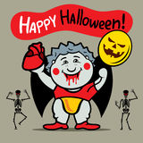 Vector Happy Halloween Cute Crazy Vampire Cartoon Illustration. Royalty Free Stock Photography