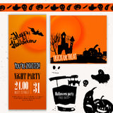 Vector Happy Halloween day set of banners. Hand. Drawn illustration with pumpkin, bat, scary moon. EPS10 Royalty Free Stock Photos