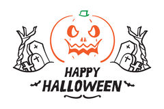 Vector : Happy Halloween with Doodle pumpkin and graveyard, Holi Stock Images