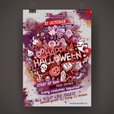 Vector Happy Halloween doodles party poster Stock Image