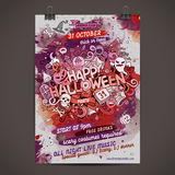 Vector Happy Halloween doodles watercolor paint Royalty Free Stock Photography