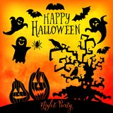 Vector  Happy Halloween greeting card, doodles element for Halloween design. Set of Halloween silhouettes on watercolor  backgroun Royalty Free Stock Photos