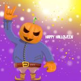 Vector Happy halloween hipster party background. man in halloween costume with carved pumpkin head on violet layout with royalty free illustration