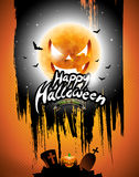 Vector Happy Halloween illustration with black sky and pumpkin moon on orange background. Stock Photo