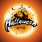 Vector Happy Halloween illustration with pumpkin and moon on orange background. Royalty Free Stock Photo