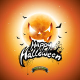Vector Happy Halloween illustration with typographic elements and pumpkin moon on orange background. Stock Photos