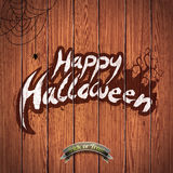 Vector Happy Halloween illustration with typographic elements and spider on wood background. Royalty Free Stock Images