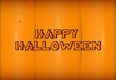Vector Happy Halloween lettering on stylized pumpkin background. Holiday calligraphy with spider and web for banner Stock Photo