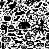 Vector Happy Halloween seamless pattern,classic bundle icons, doodles element for Halloween design. Set of Halloween silhouettes Royalty Free Stock Images