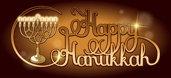 Vector Happy Hanukkah hand lettering. Festive poster, greeting card template with Menorah. royalty free illustration