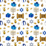 Vector Happy Hanukkah Holiday Seamless Pattern Background. Royalty Free Stock Images