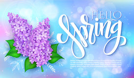Vector happy hello spring poster with lettering, lilac flowers on a blur shining circles background Royalty Free Stock Images