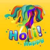 Vector Happy Holi geometric elephant illustration. Traditional indian spring festival card. Traditional indian spring festival greeting card template. Elephant Royalty Free Stock Image