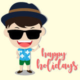 Vector happy holiday with man character. Vector image happy holiday with a man character Royalty Free Stock Photos